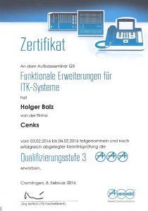 Auerswald Telefonanlagen Service - Qualifizierungsstufe Q3
